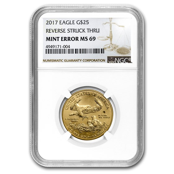 2017 1/2 oz Gold American Eagle MS-69 NGC (Rev Mint Error)