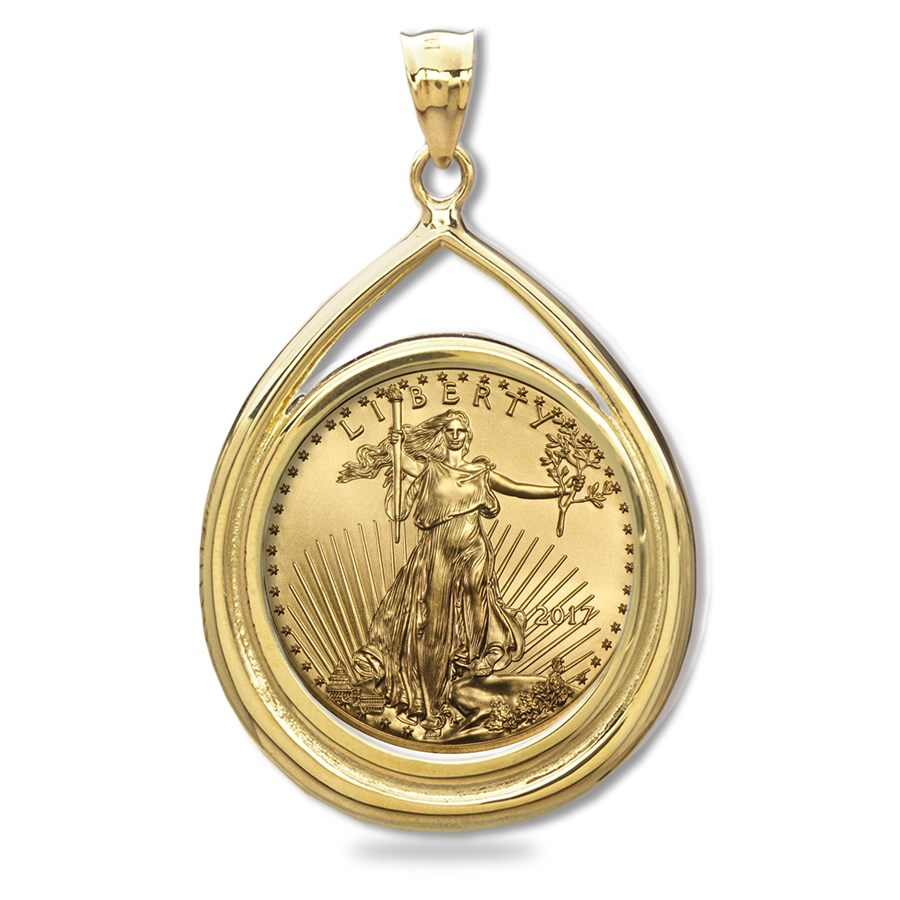 2017 1/2 oz Gold Eagle Teardrop Pendant (Prong Bezel)