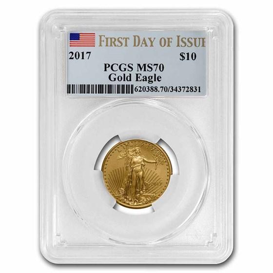 2017 1/4 oz American Gold Eagle MS-70 PCGS (FDI)