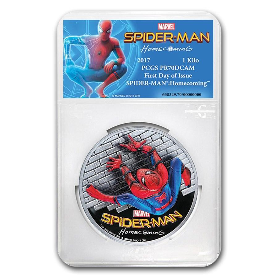 2017 1 Kilo Ag $100 SPIDERMAN™ Homecoming HR PR-70 PCGS (FD)