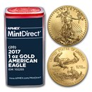 2017 1 oz American Gold Eagle (20-Coin MintDirect® Tube)