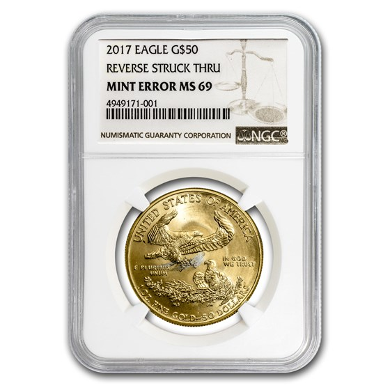 2017 1 oz American Gold Eagle MS-69 NGC (Rev Mint Error)