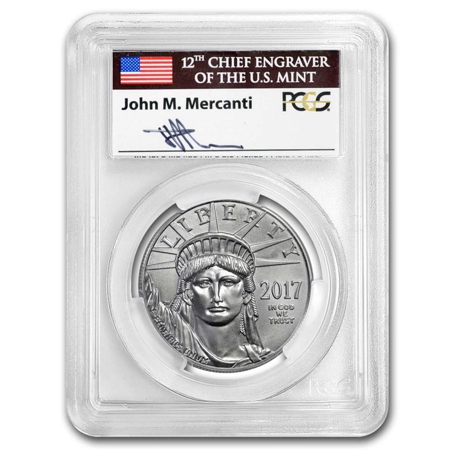 2017 1 oz American Platinum Eagle MS-70 PCGS (FS, Mercanti)