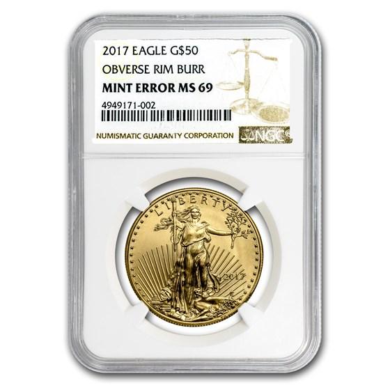 2017 1 oz Gold American Eagle MS-69 NGC (Obv Mint Error)