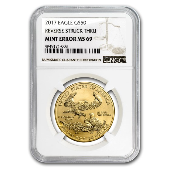 2017 1 oz Gold American Eagle MS-69 NGC (Rev Mint Error)