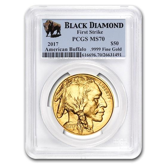 2017 1 oz Gold Buffalo MS-70 PCGS (FS, Black Diamond)