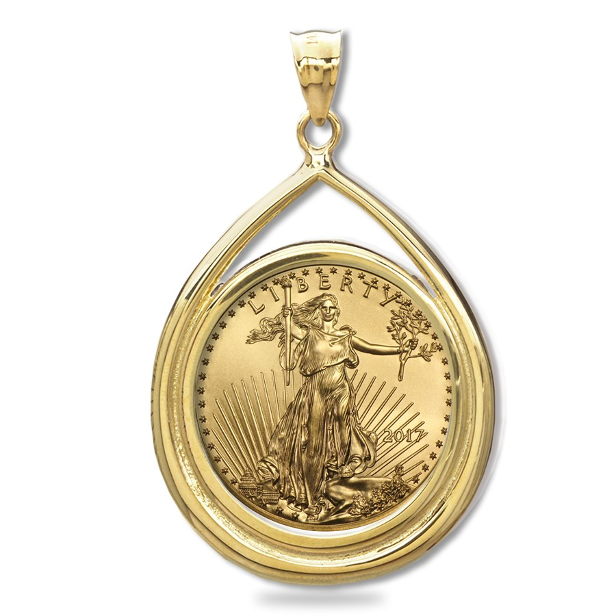 2017 1 oz Gold Eagle Teardrop Pendant (Prong Bezel)