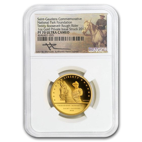 2017 1 oz Gold Teddy Roosevelt Rough Rider Commem PF-70 NGC