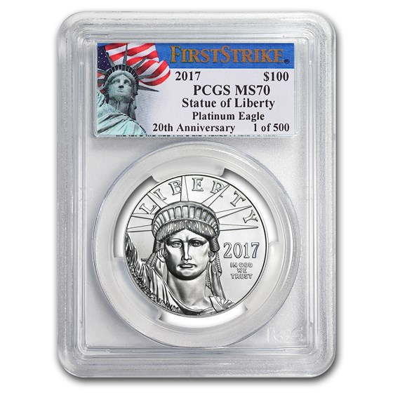 2017 1 oz Platinum American Eagle MS-70 PCGS (FS, Liberty Label)