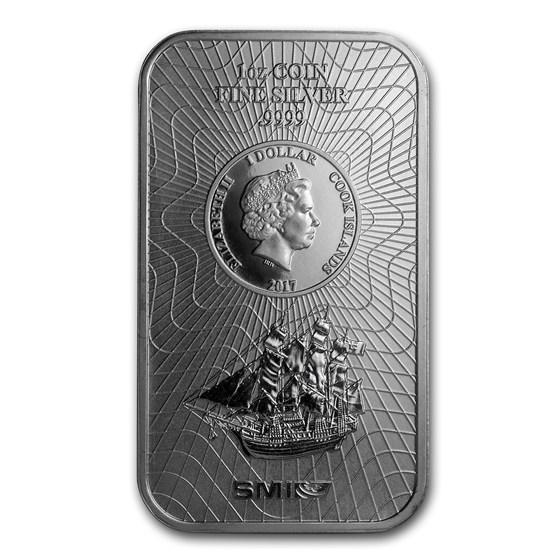 2017 1 oz Silver Cook Islands Bounty Coin Bar (.9999 Fine)