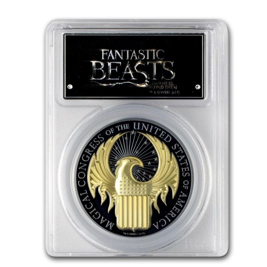 2017 1 oz Silver Fantastic Beasts PR-69 PCGS (Gilded FS)