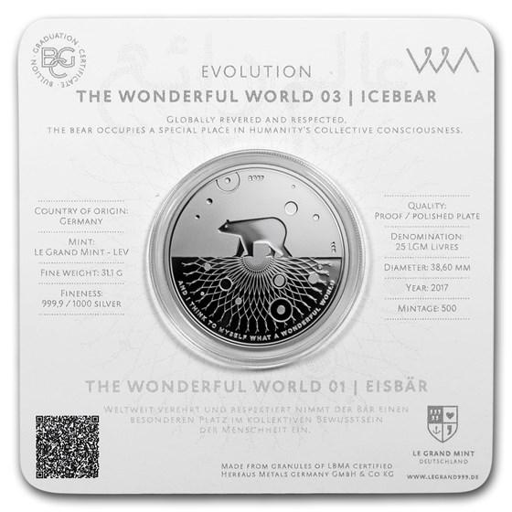 2017 1 oz Silver Proof Evolution I Wonderful World (Icebear)