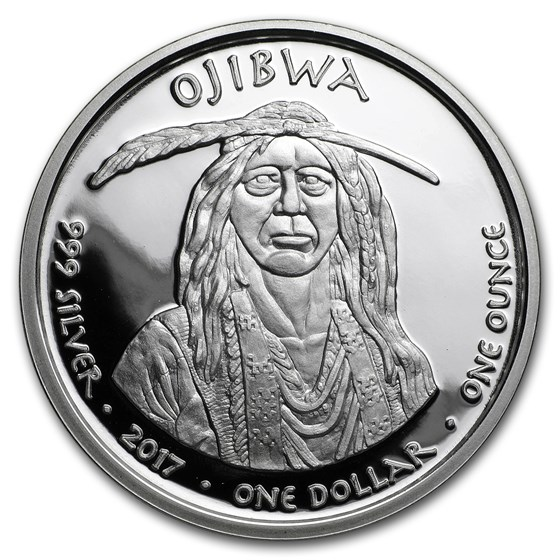 2017 1 oz Silver Proof State Dollars Ojibwa Michigan Swan