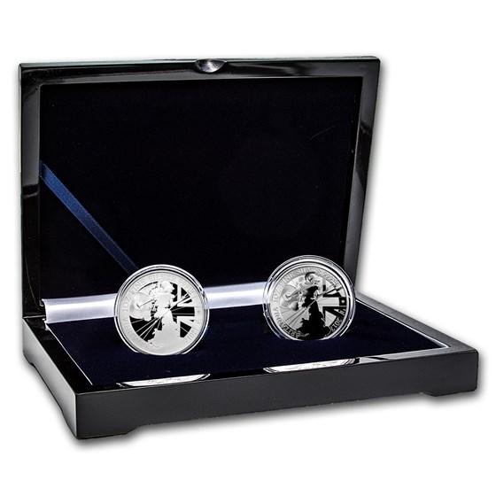 2017 2-Coin Silver 1 oz Britannia Proof/Reverse Proof Set
