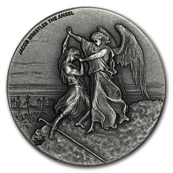 2017 2 oz Silver Coin - Biblical Series (Jacob Wrestles Angel)