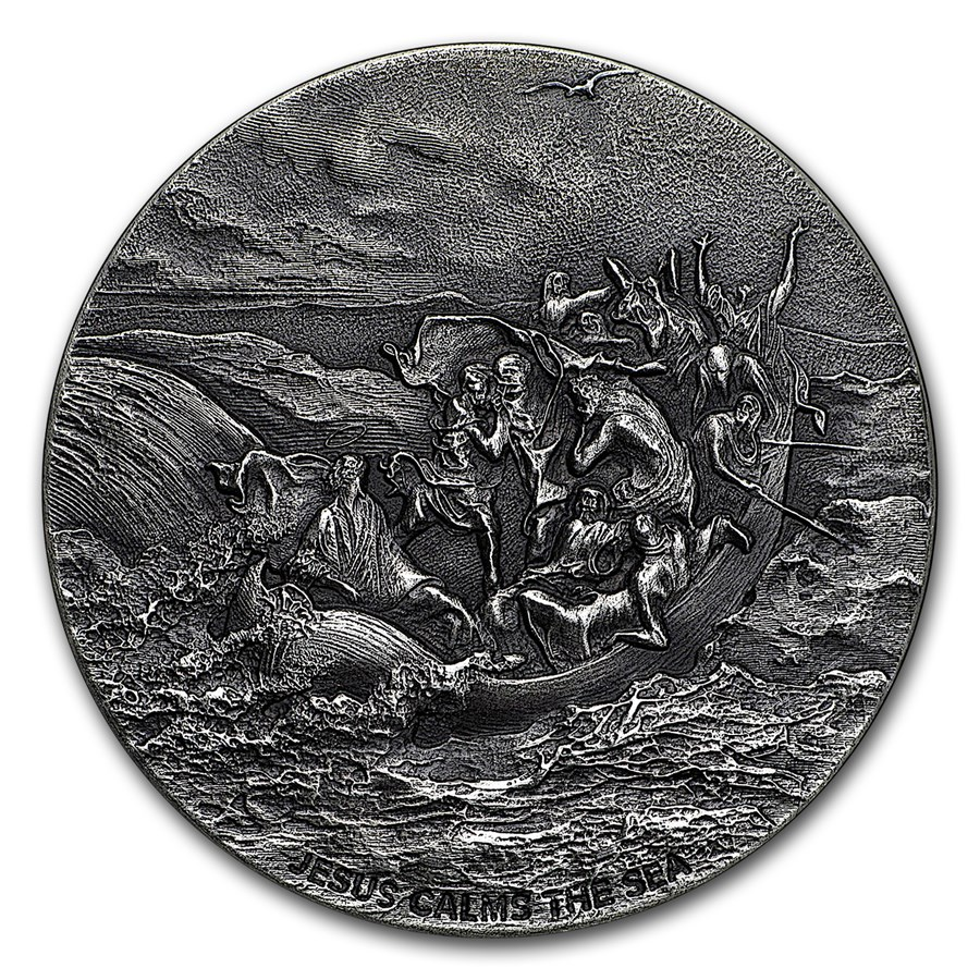 2017 2 oz Silver Coin - Biblical Series (Jesus Calms the Sea)