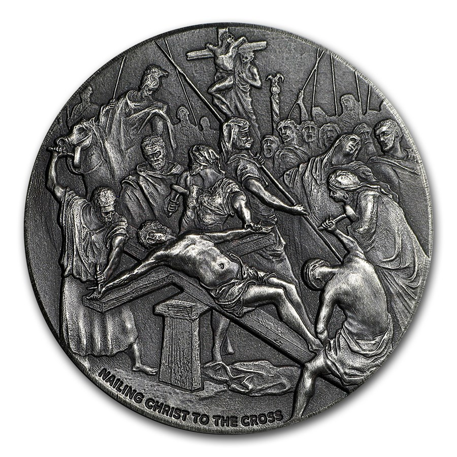2017 2 oz Silver Coin - Biblical Series (Nailing Christ to Cross)
