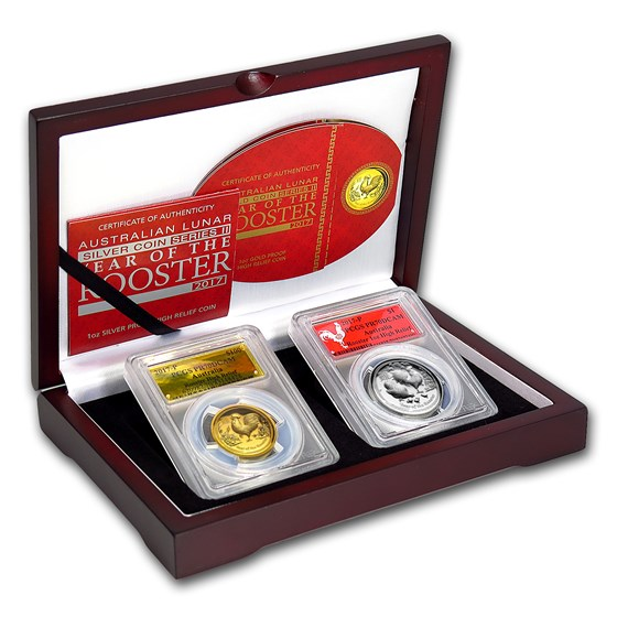 2017 2-Pc 1 oz Gold & Silver High Relief Rooster Set PR-70 PCGS