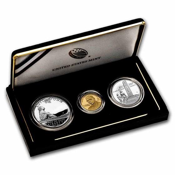 2017 3-Coin Boys Town Centennial Proof Set (w/Box & COA)