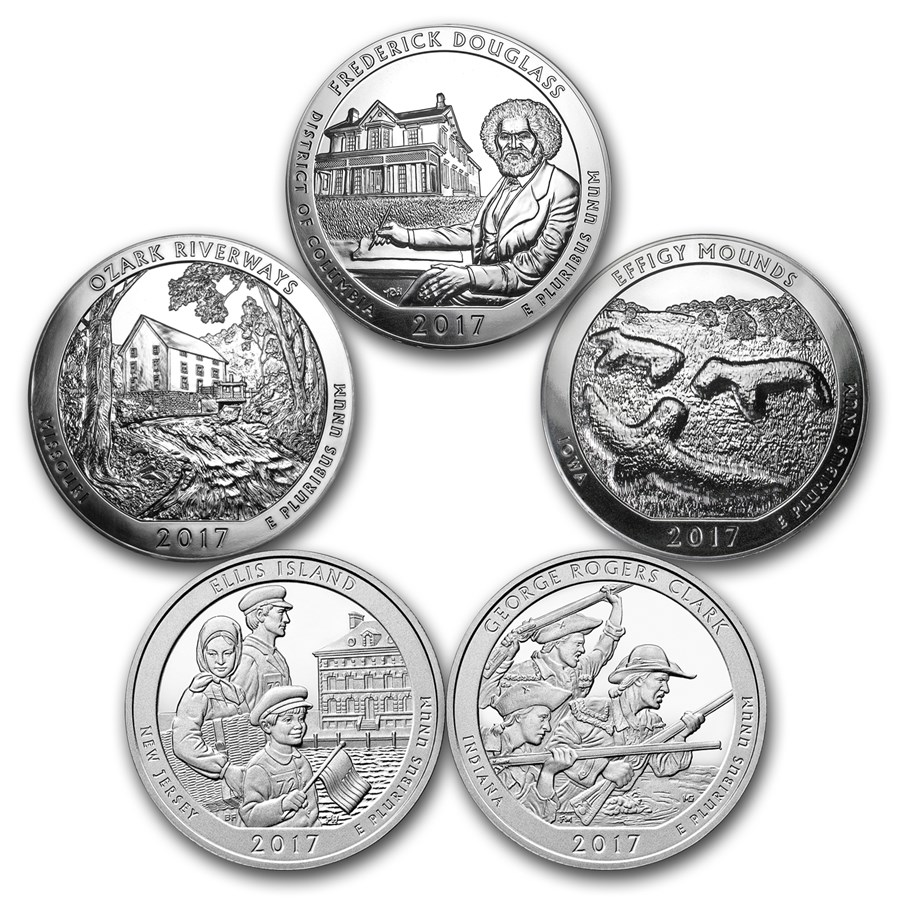 2017 5-Coin 5 oz Silver ATB Set (America the Beautiful)