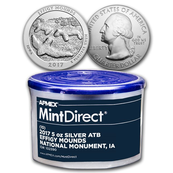 2017 5 oz Silver ATB Effigy Mounds (10-Coin MintDirect® Tube)