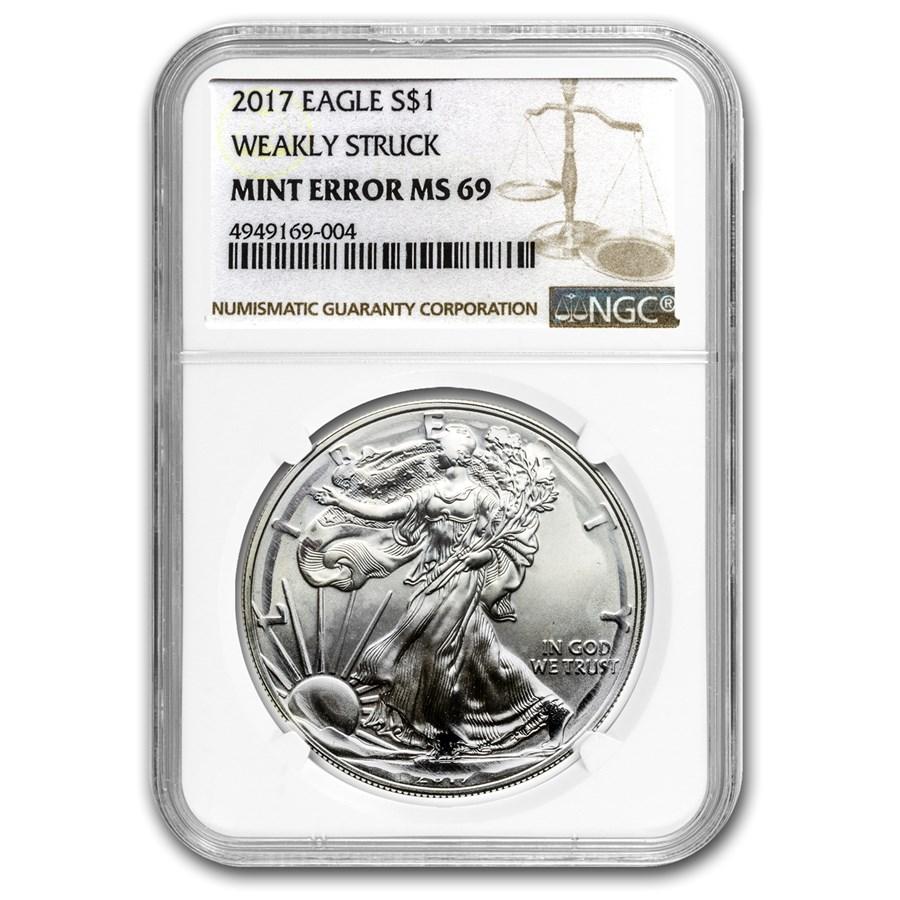 2017 American Silver Eagle MS-69 NGC (Error, Weakly Struck)