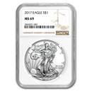 2017 American Silver Eagle MS-69 NGC
