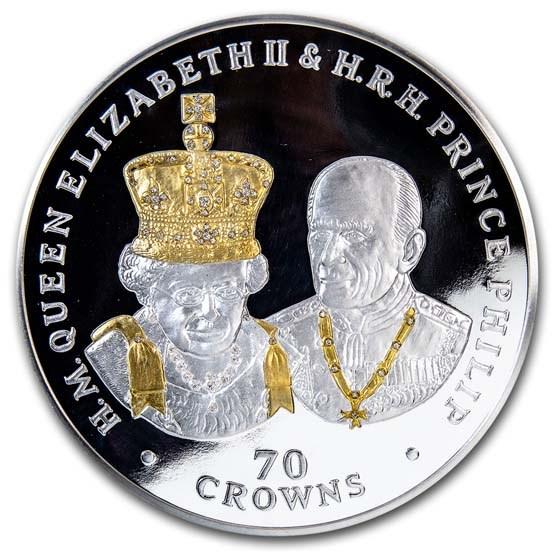 2017 Ascension Island 70 oz Silver Platinum Wedding Anniv Proof