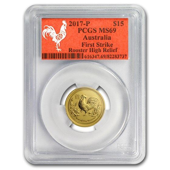 2017 AUS 1/10 oz Gold Lunar Rooster MS-69 PCGS (FS, Red Label)