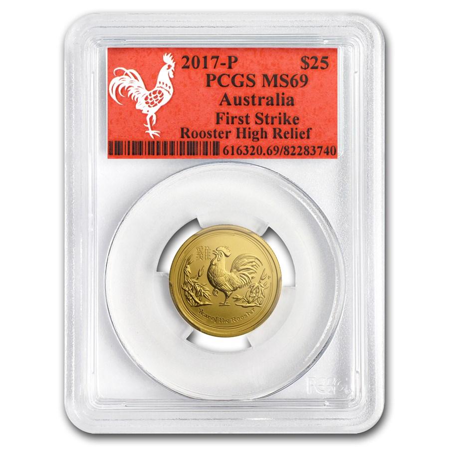 2017 AUS 1/4 oz Gold Lunar Rooster MS-69 PCGS (FS, Red Label)