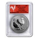 2017 AUS 1 oz Silver Lunar Rooster MS-69 PCGS (FS, Red Label)