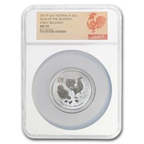 2017 AUS 2 oz Silver Lunar Rooster MS-70 NGC (Early Release)
