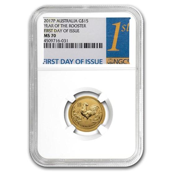 2017 Australia 1/10 oz Gold Lunar Rooster MS-70 NGC (FD)