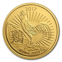 2017 Australia 1/10 oz Gold Lunar Year of the Rooster BU (RAM)