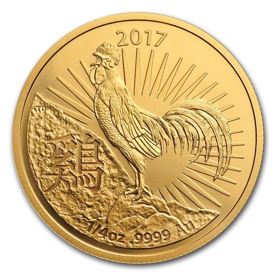 2017 Australia 1/4 oz Gold Lunar Year of the Rooster BU (RAM)