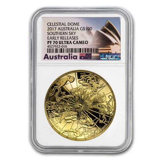 2017 Australia 1 oz $100 Gold Southern Sky Domed PF-70 NGC