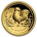 2017 Australia 1 oz Gold Lunar Rooster Proof (HR, Box & COA)