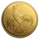 2017 Australia 1 oz Gold Lunar Year of the Rooster BU (RAM)