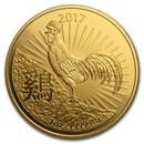 2017 Australia 1 oz Gold Lunar Year of the Rooster BU (RAM)