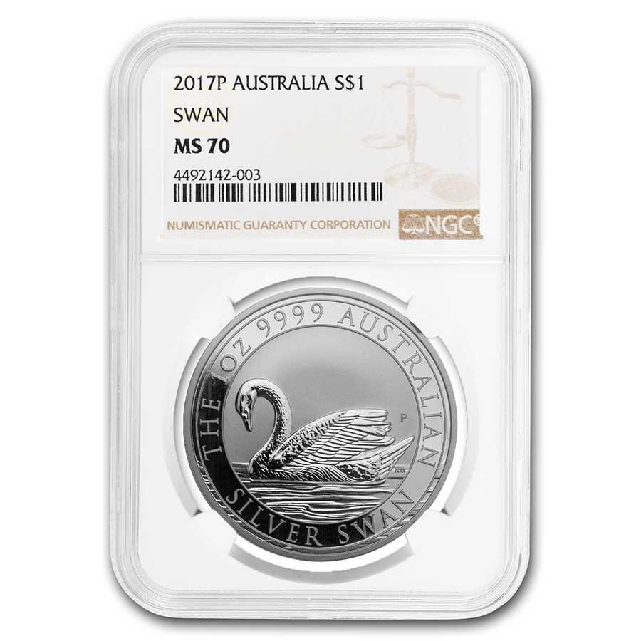 2017 Australia 1 oz Silver Swan MS-70 NGC