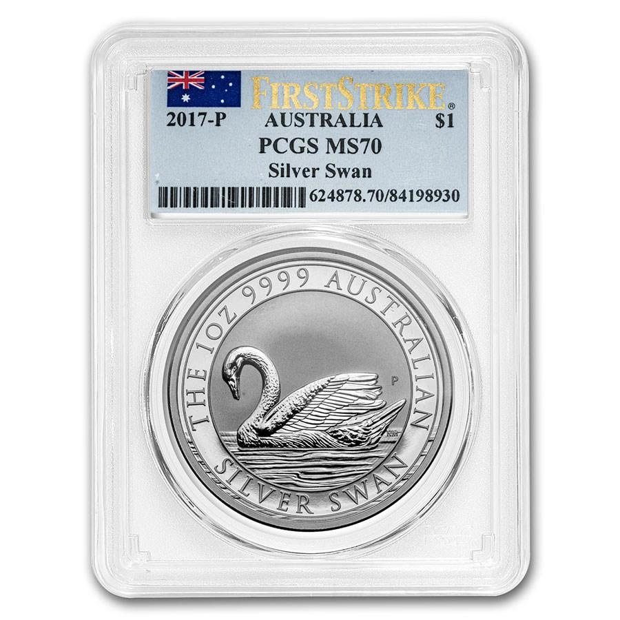 2017 Australia 1 oz Silver Swan MS-70 PCGS (FS)
