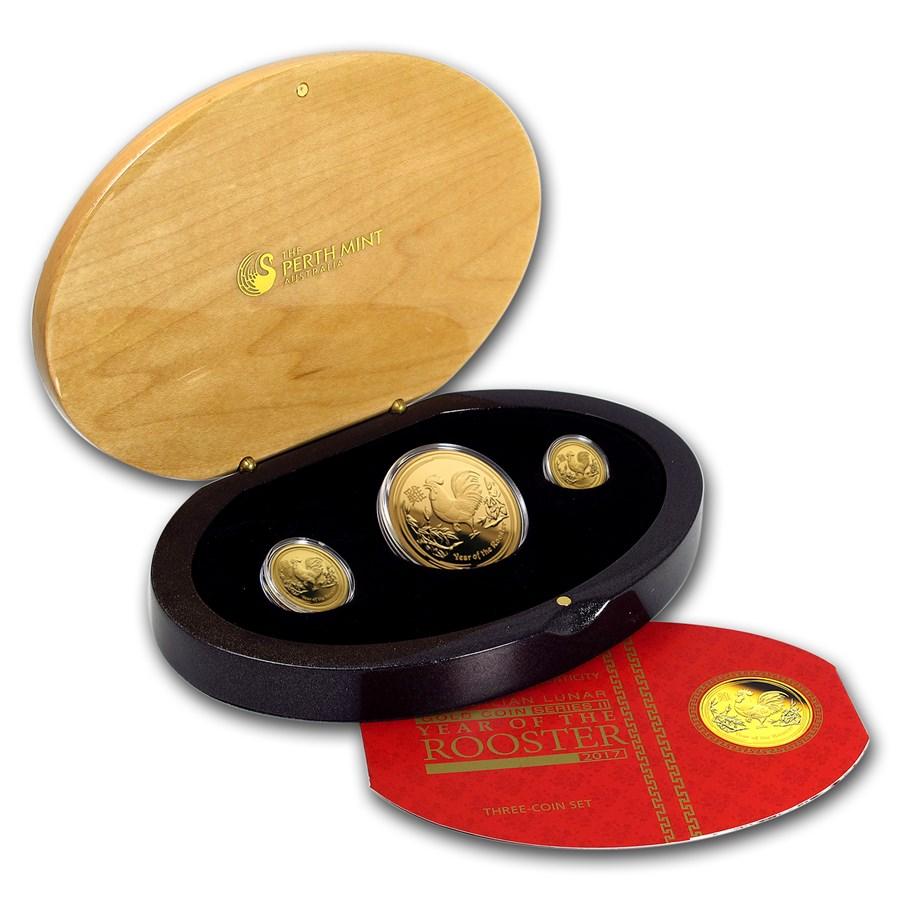 2017 Australia 3-Coin Gold Lunar Rooster Proof Set (1.35 oz)