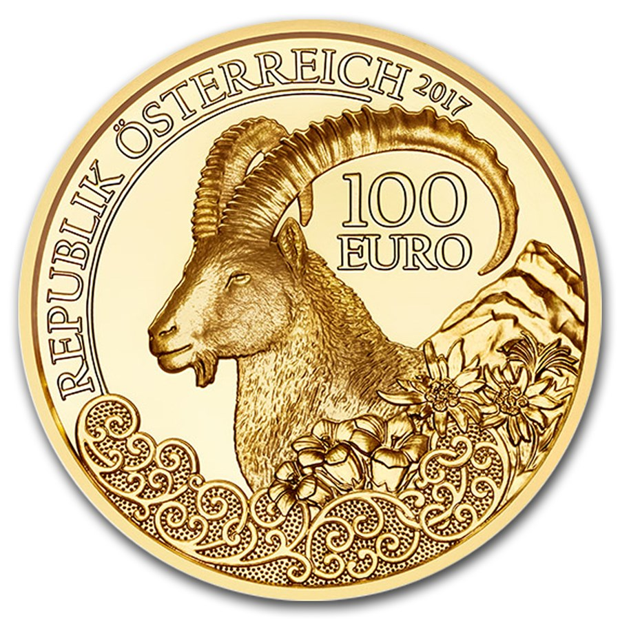 2017 Austria Proof Gold €100 Wildlife in our Sights (Alpine Ibex)