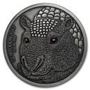 2017 Burkina Faso 1 oz Silver The Glyptodon High Relief