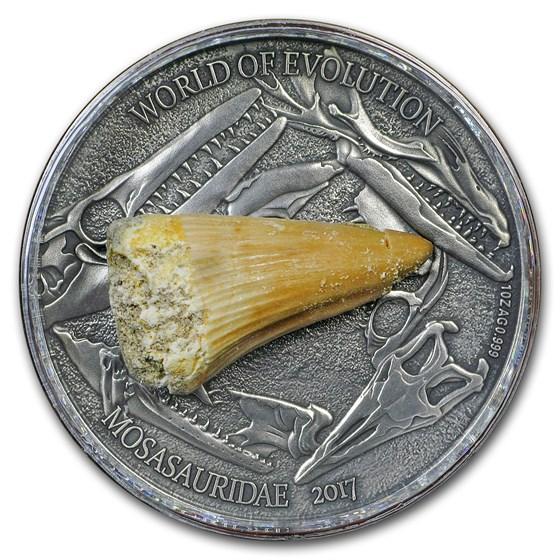 2017 Burkina Faso 1 oz Silver World of Evolution (Mosasaurus)