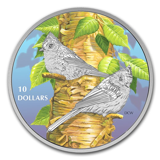 2017 Canada 1/2 oz Ag $10 Birds Among Nature: Tufted Titmouse