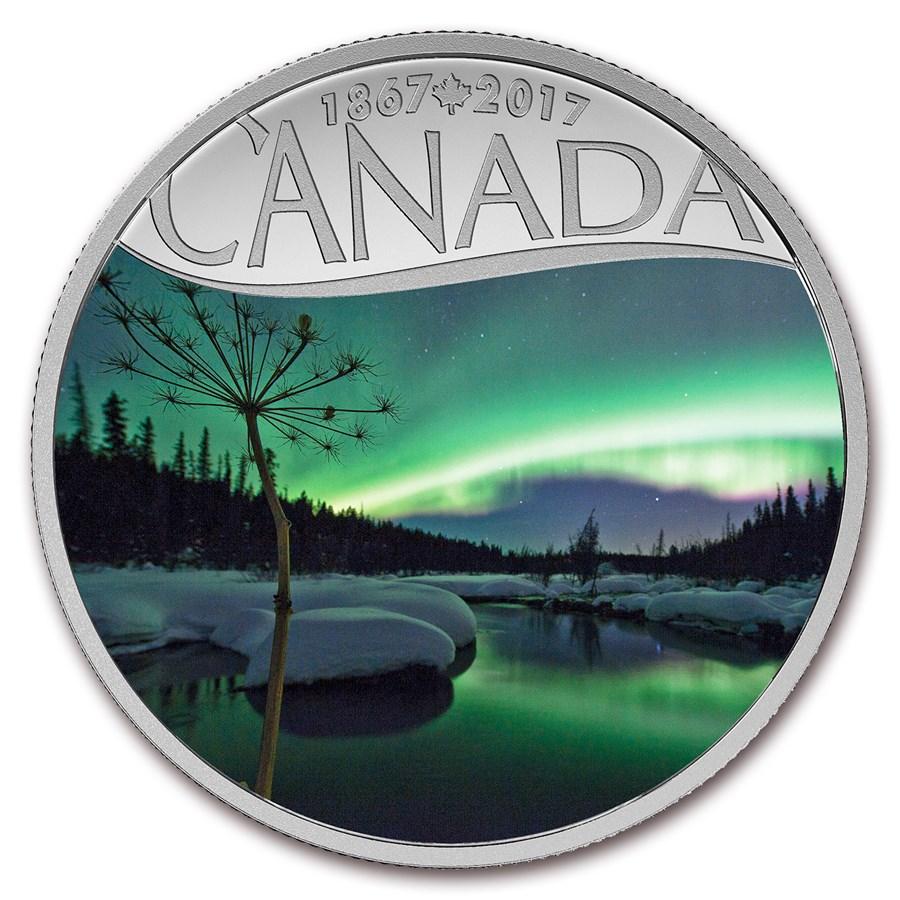 2017 Canada 1/2 oz Silver $10 Canada's 150th: Aurora Borealis