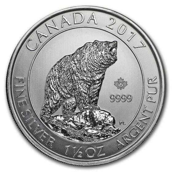 2017 Canada 1.5 oz Silver $8 Grizzly Bear BU