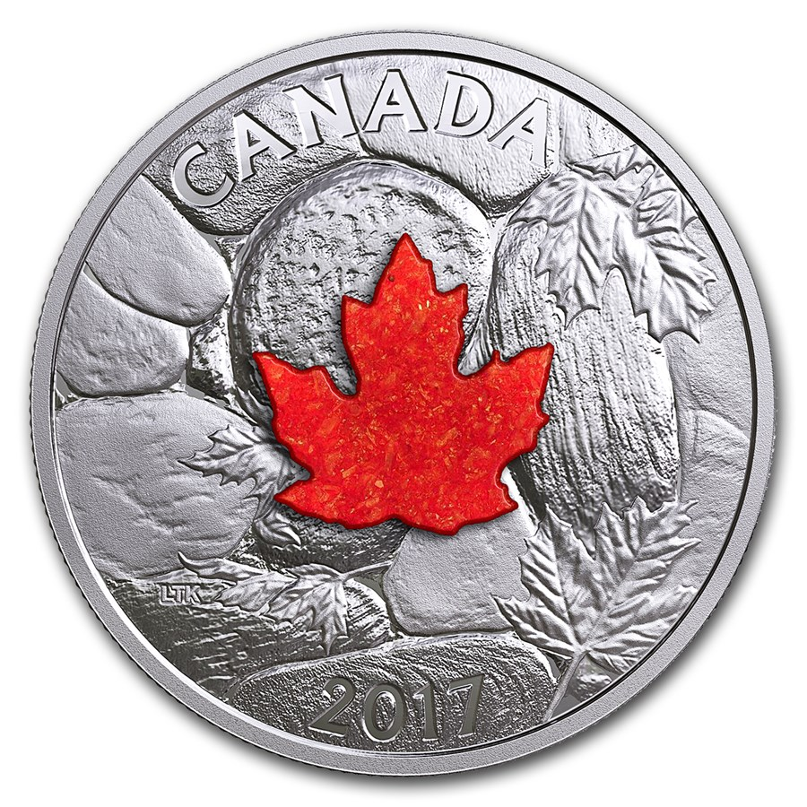 2017 Canada 1 oz Proof Silver $20 Maple Leaves w/Drusy Stone