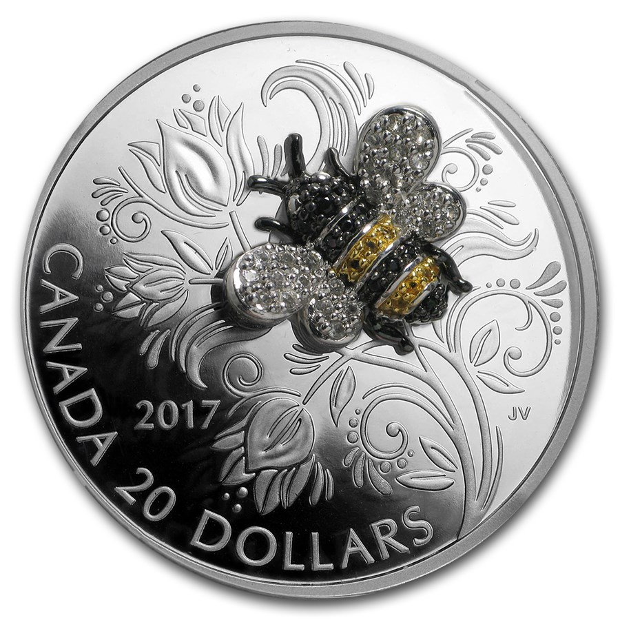2017 Canada 1 oz Silver $20 Bejeweled Bugs: Bee